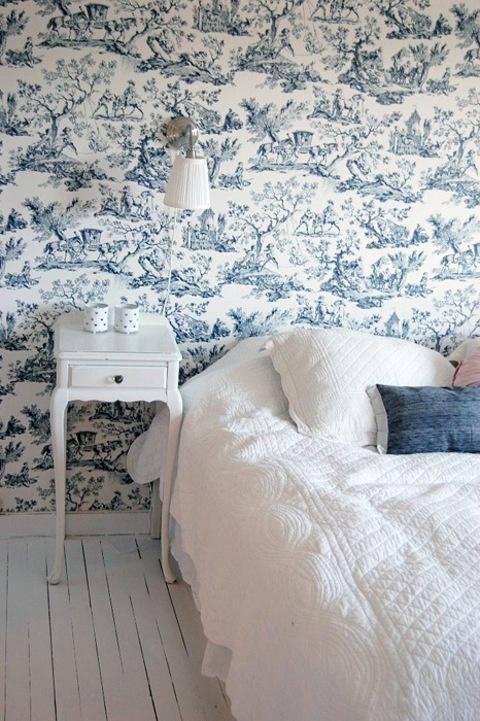 Toile De Jouy Wallpaper In A Bedroom.