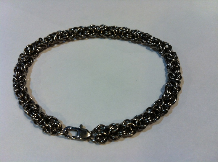 """Stainless steel Byzantine bracelet made from 1/8"""" rings"""