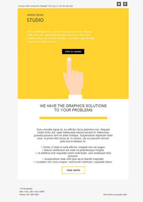 Como el libro de los gustos está en blanco aquí te hemos preparado una selección de plantillas newsletter para Diseño Gráfico tan ideales como ésta.