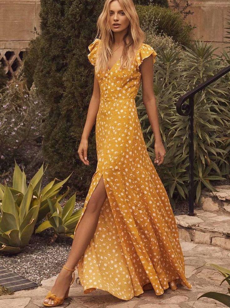 Sexy V Neck Yellow Split Maxi Dress No reviews 3