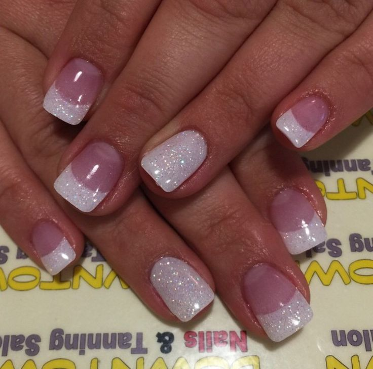 French Gel Manicure with Glitter | Nextgen glitter French tips unghie gel, gel unghie, ricostruzione ...