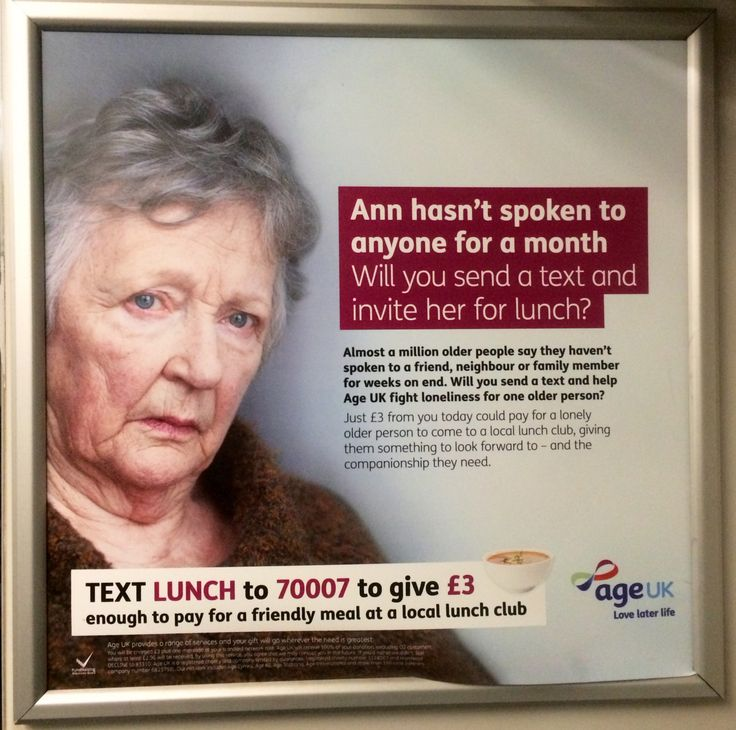 Here's a new ad for Age UK calling for £3 donations by text messages to help the charity bring isolated older people for lunch and company. #ageuk #charity #advert