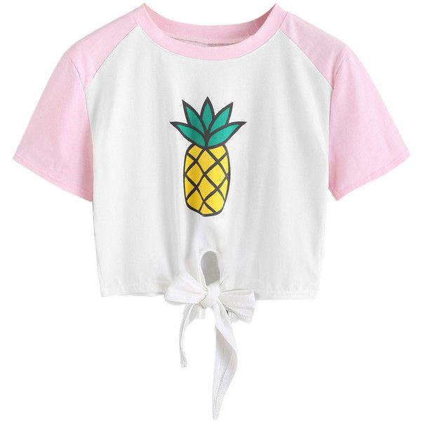 White Pineapple Print Raglan Sleeve Tie Front Crop T-shirt (47 BRL) ❤ liked on Polyvore featuring tops, t-shirts, shirts, pineapple shirt, white crop tee, crop t shirt, raglan sleeve t shirts and t shirt