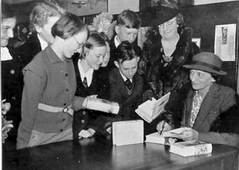PH 13407. Author Mary Grant Bruce at the Prahran Children's Library, 28 April 1939.
