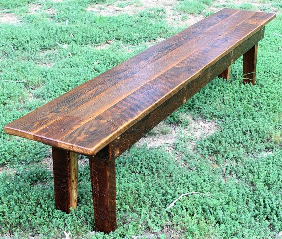 Rustic Bench Rustic Dining Bench Rustic Wood by WeatheredBoardLLC