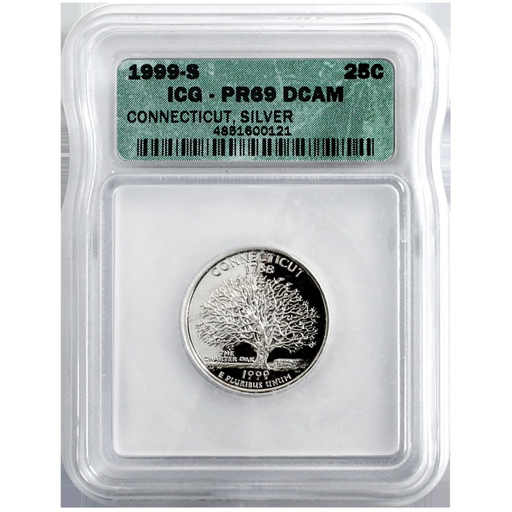 1999 San Francisco (S) Silver Connecticut State Quarter PR69 Deep Cameo (DCAM) ICG: Quarter Pr69, Connecticut States, 1999 San, Cameo Dcam, States Quarter, Deep Cameo, Silver Connecticut, San Francisco, Pr69 Deep