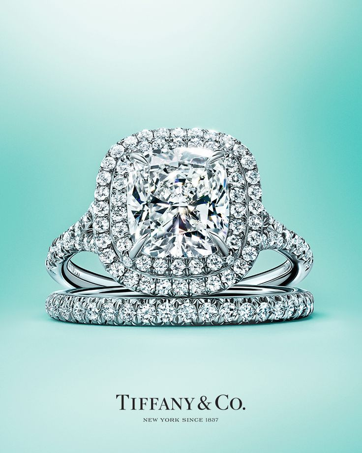 Tiffany Soleste® engagement ring and Tiffany Metro band ring in platinum.
