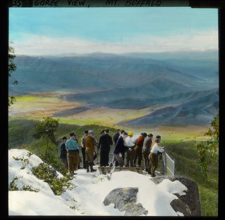 Wilkinson's Lookout, Mt Buffalo. Lantern slide. State Library of Victoria Collection.