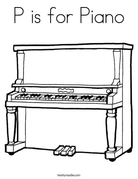 P is for Piano Coloring Page | Piano, Upright piano, Music ...