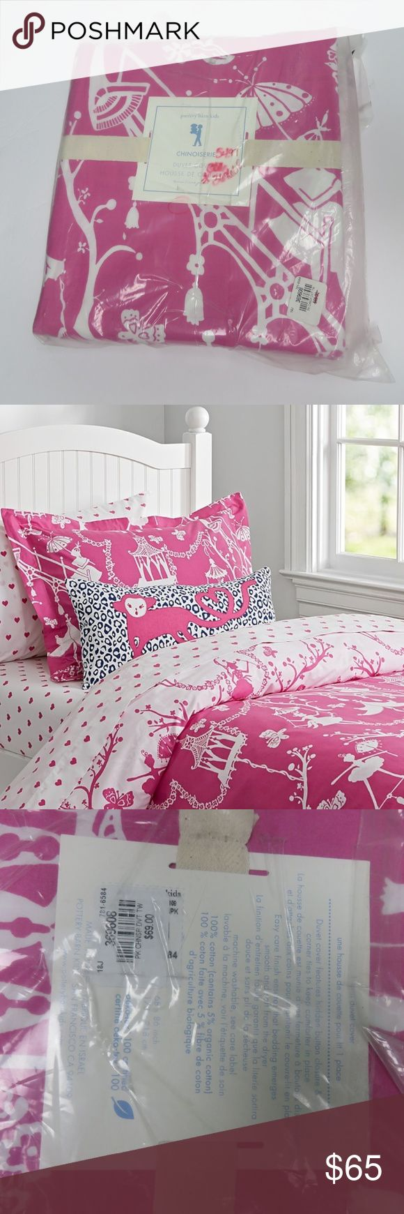 Pottery Barn Kids pink twin duvet cover Pottery barn