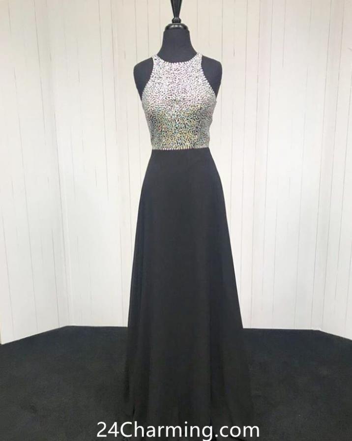 802c7bab2d3f5 Black Beading Halter Long Prom Dresses, Evening Pageant Dress –  24Charming.com