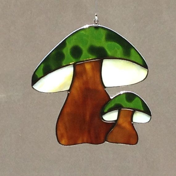 Stained Glass Green And Brown Mushroom Suncatcher by FoxStainedGlass on Etsy