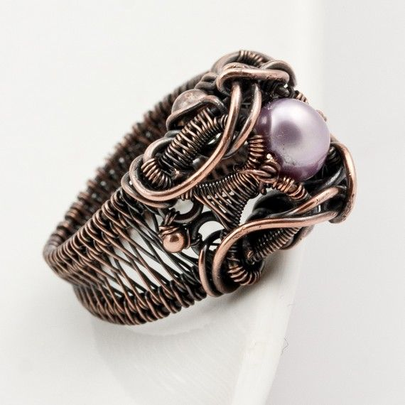 Entwined Copper and Pearl Ring ♥ by sarahndippity on Etsy