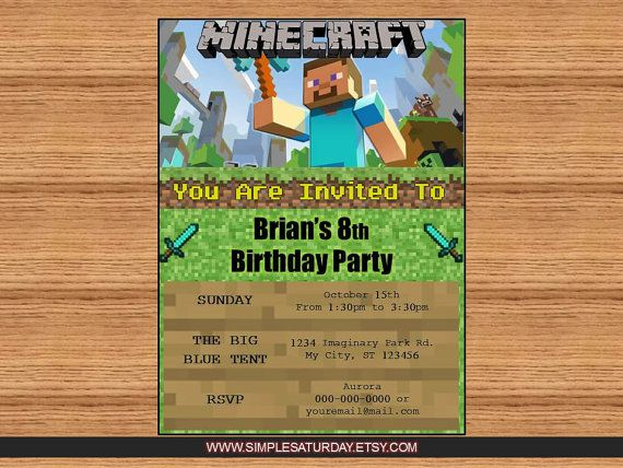 26 best images about Minecraft Party Ideas – Mine Craft Invitation Template