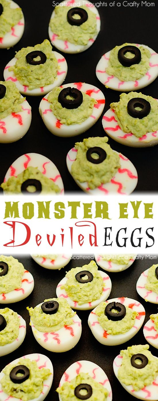 Monster Eyeball Deviled Eggs Recipe -- the perfect appetizer idea for a Halloween party! Kids and adults love them! Healthy and non-candy.