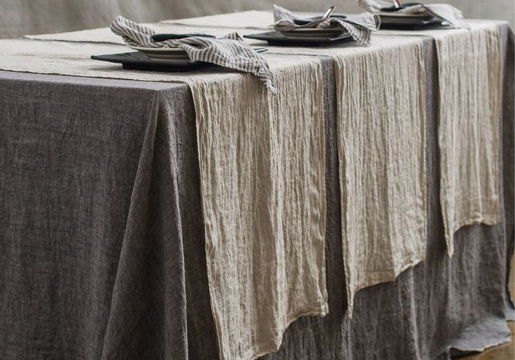 Our Flocca linen tablecloth is finished with a row of double stitching & beautifully hand 'tufted' edges. Handcrafted in Europe from 100% pure soft linen.