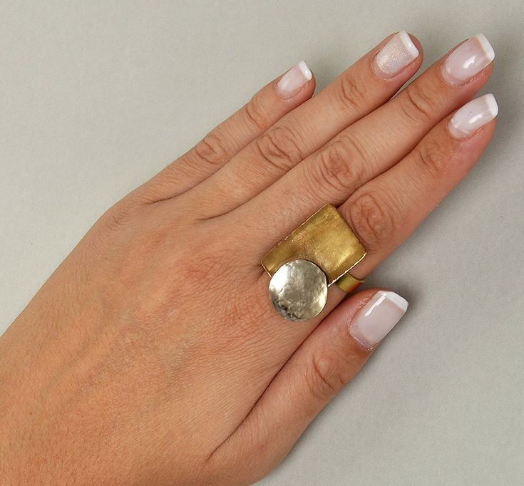 Geometric ring, plain ring, Square jewelry, multiple finger ring, mixed metals jewelry, women big ring, adjustable brass ring, simple band by ColorLatinoJewelry on Etsy