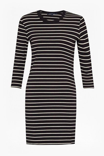 "<ul> <li> Jersey mini dress in cotton with striped print</li> <li> Added stretch for comfort</li> <li> Crew neck</li> <li> 3/4 length sleeves</li> <li> Slim fit </li> <li> UK size 10 approximate length is 75cm</li> </ul>  <strong>Our model is 5ft 10"" and is wearing a UK size 10. </strong>"