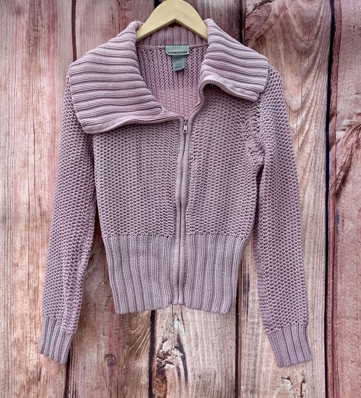 Womans Girls knitted collar Cardigan Pale Pink Warehouse zip up front UK 10