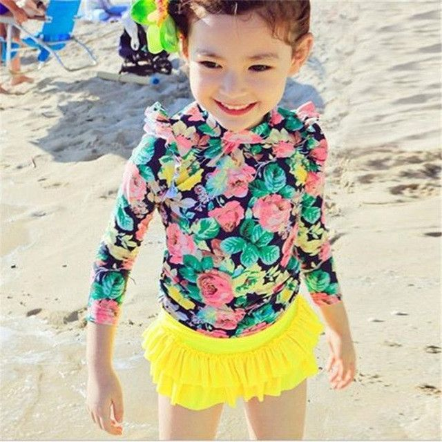 Plus Size Girl's Swimwear New Arrivals Long Sleeve Floral Printed Children Bikini Mode Two-pieces Kids Cute Swimsuit 62542