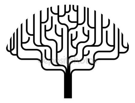Скачать - Абстрактное дерево силуэт Иллюстрация — стоковая иллюстрация #6885185