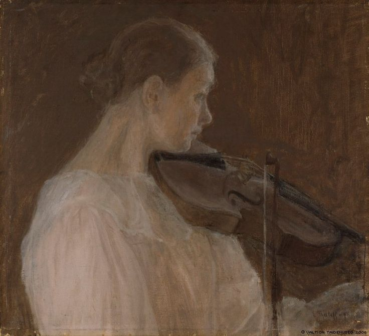 Viulunsoittajatar (The Violin Player) by Ellen Thesleff (1896) Finnish National Gallery. This painting depicts Thyra Thesleff, the youngest sister of the artist. - Finland