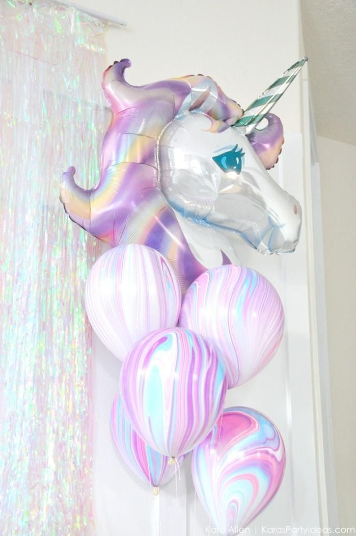 Unicorn balloons at a unicorn themed birthday party by Kara's Party Ideas | Kara Allen | http://KarasPartyIdeas.com