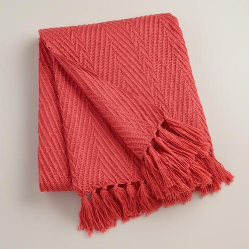 coral herringbone oversized throw