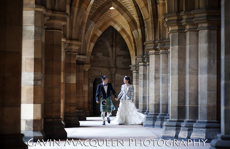 Wedding photography at The Cloisters in Glasgow University