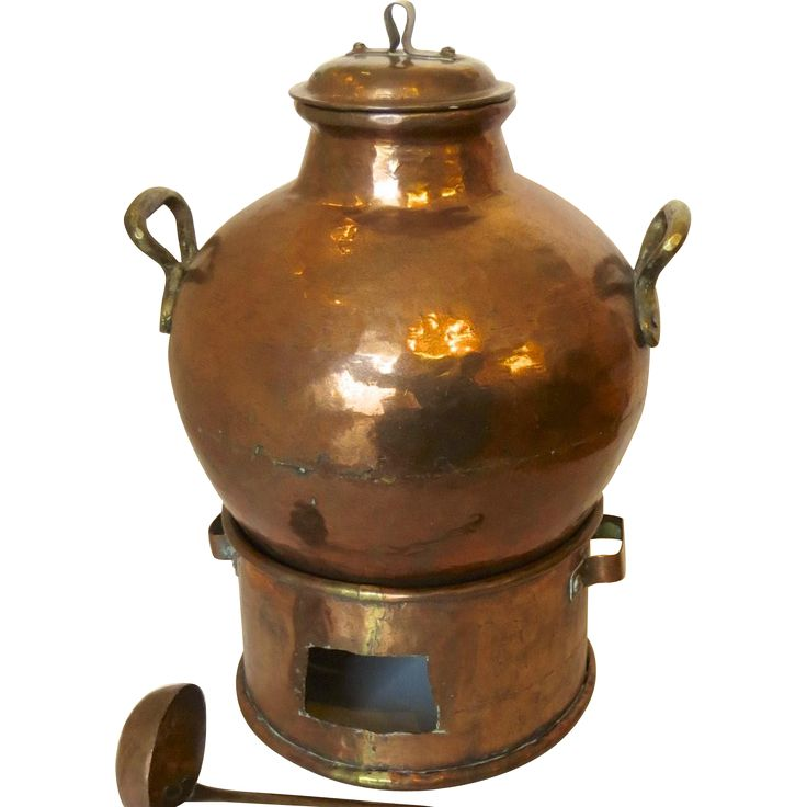 Traditional antique copper Egyptian Fagioli cooking pot (bean pot) with copper fire box burner and lid and ladle.  (dated from the Ottoman domination
