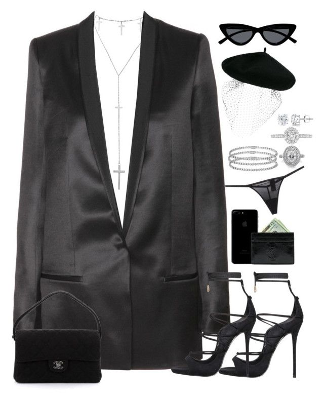 """""""showing up at your funeral like."""" by nikkischeper ❤ liked on Polyvore featuring Cartier, Silver Spoon Attire, Haider Ackermann, Mark Broumand, Chanel, Yves Saint Laurent, Calvin Klein Underwear, EWA, Auriya and Le Specs"""