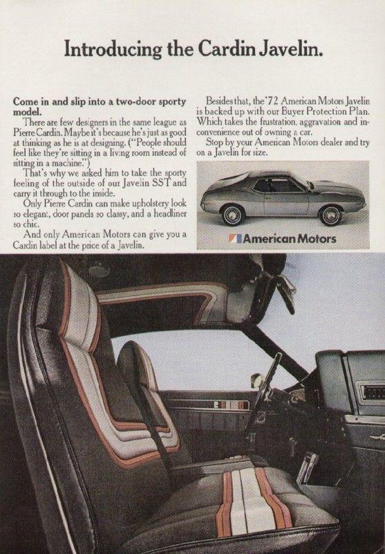 American Motors AMC Javelin 1972 Car Ad Pierre Cardin | eBay [Pierre Cardin Interior]