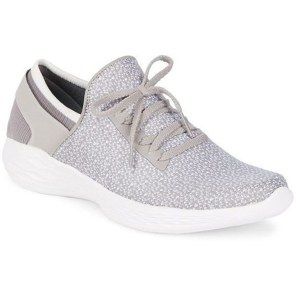 Skechers Women's You Inspire Sneakers ($45) ❤ liked on Polyvore featuring shoes, sneakers, black, slip-on shoes, skechers trainers, grey slip on shoes, slip-on sneakers and embellished sneakers