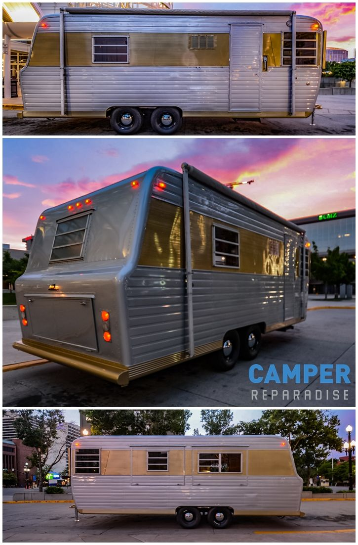 Camper reparadise vintage trailer restoration including airstream and canned ham in salt lake city ut