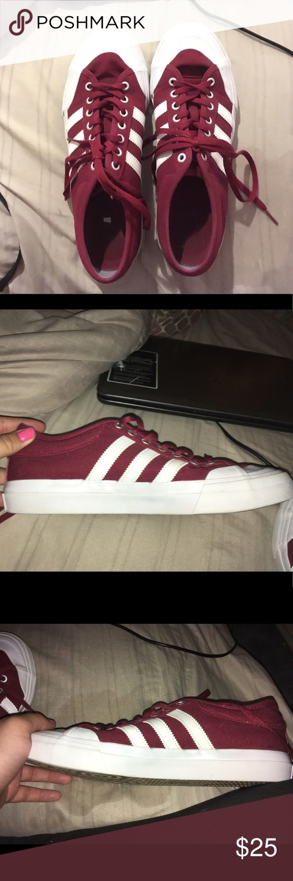 Adidas Shoes (UNISEX! LOOK IN DESCRIPTION) Size 8 in Men. Size 10 in Women. Unisex shoes. Maroon color. Worn once. adidas Shoes Athletic Shoes