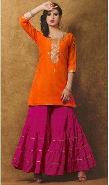 Orange Color Chanderi Silk Embroidery Straight Cut Sharara Suit   FH580185669 Follow us @Heenastyle #punjabiwedding #punjabisuit #shararasuits #green #pink #uniquesdesign #shararasuit #desi#pakistani #love #bollywood #lehenga #anarkali #traditional #indianclothes #sharara #handwork #handembroidery #gota #gotawork #punjabi #punjabidress #ethnic #ethnicdress #boutique #custommade #bespoke #instafashion #instachic #heenastyle