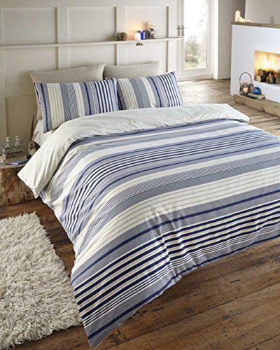 Blue Beige White Striped Boys Bedding Bed Linen Or: Exeter Navy Blue, Cream & Beige Striped Double Duvet Cover