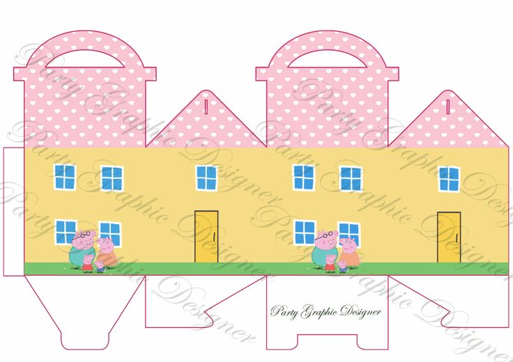 box party10 cmx10cm, gable box, lunch box Peppa pig by PartyGraphicDesign on Etsy