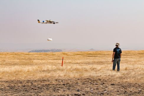 Burrito-by-Drone Coming to Virginia Tech - A Project Wing aircraft lowering a package to the ground during recent testing.