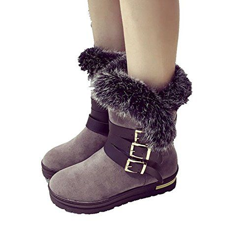 Womens Fashion Snow Boot Winter Warm Flat Buckle Dress Wedge Ankle Boot By Btrada * You can get additional details at the image link.