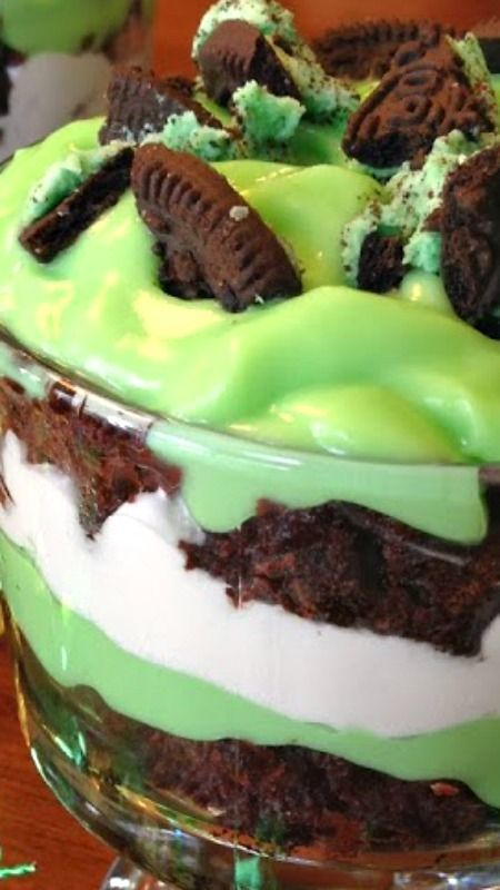 St. Patrick's Day Brownie Trifle Recipe