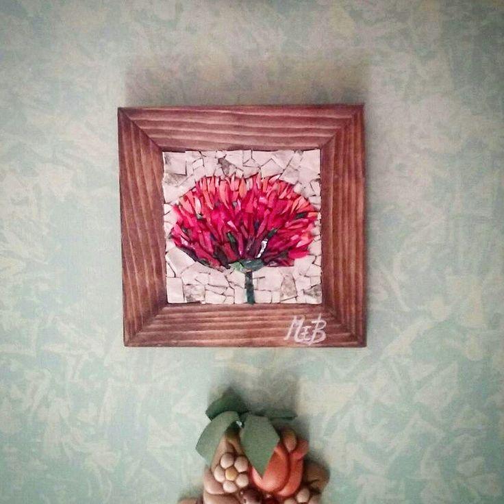 #mosaic #flower #wood #handmade