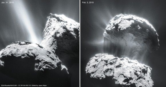 "Rosetta's Comet Really ""Blows Up"" in Latest Images - Jet activity on Comet 67P/C-G imaged on Jan. 31 and Feb. 3, 2015. By ESA/Rosetta/NAVCAM"