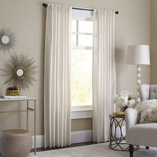 Cotton velvet Sheridan curtain, lined - can hang as rod pocket or back tab. At Pier I.