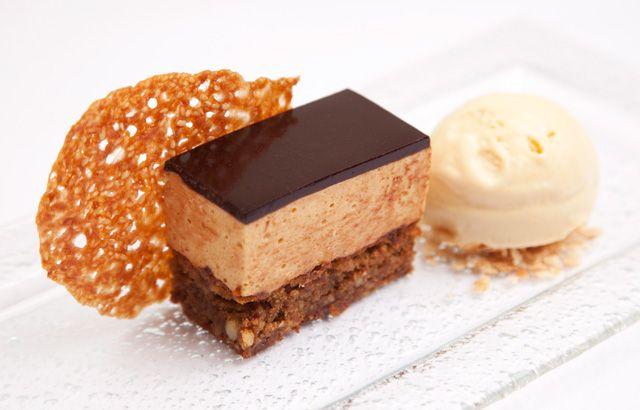 Hazelnut, caramel and sesame mousse cake with malt ice cream by Josh Eggleton