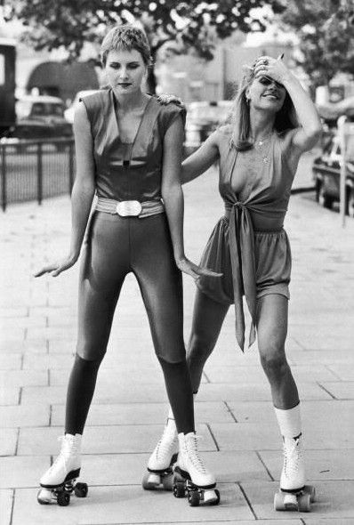 I saved up all my babysitting money to buy a pair of rollerskates. I wish I'd had this awesome onsie to go with them! #fashion #1970s