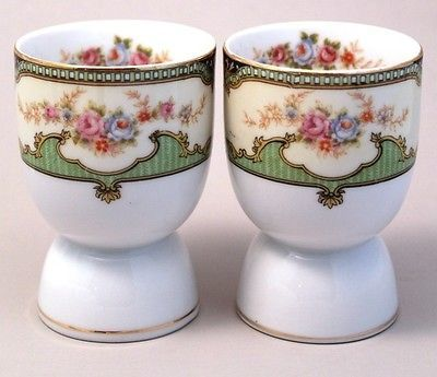 2 Noritake Double Egg Cups Pink Blue Roses Gold Trim mm 22 Mark | eBay