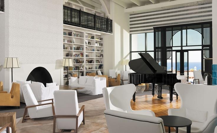 Lobby piano and reading area #hotel #lobby #h10 #h10hotels