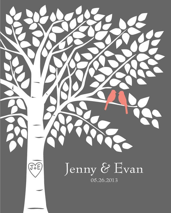 Guest Book Tree Personalized Wedding Print by karimachal on Etsy