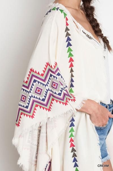 Umgee Tribal Kimono Off White With Arrows Boho Native Print Red Purple Green Lightweight Raw Edges Small Medium Or Large